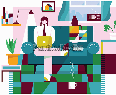 happy woman working from home in