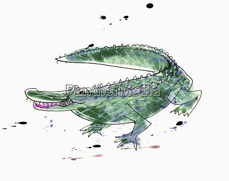 watercolor painting of crocodile
