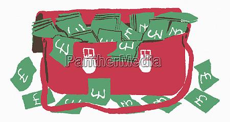 britische pfund ueberschwemmt aus roter satchel