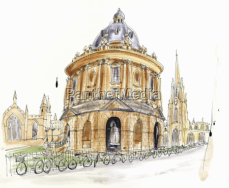 watercolor painting of radcliffe camera in