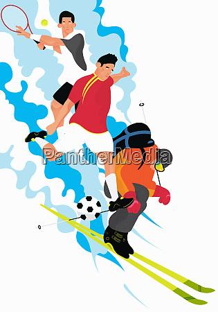 maenner skifahren und tennis und fussball