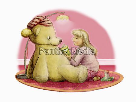 maedchen lesen bettgeschichte zu grossen teddybaeren