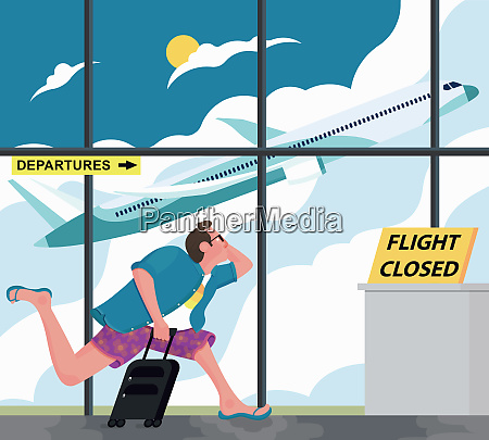 man running to closed airport departure