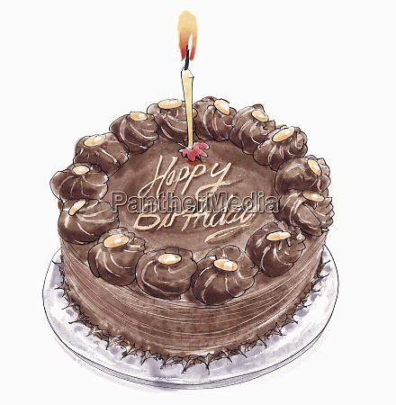 chocolate birthday cake with one candle