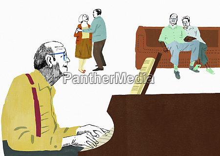 older people playing piano listening to