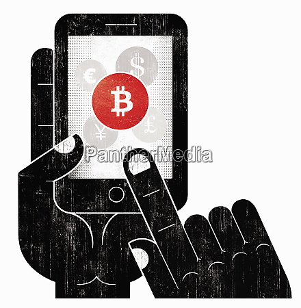 hand choosing bitcoin currency on smart