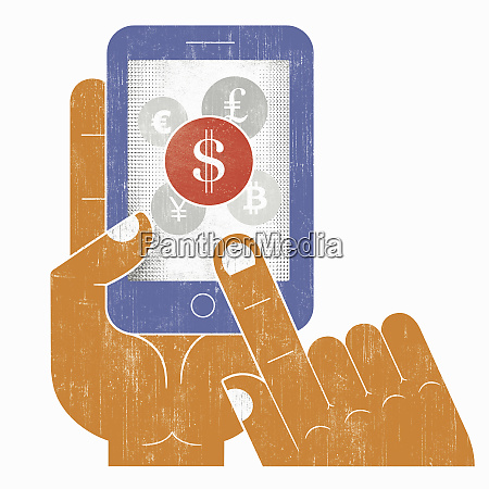 hand choosing dollar sign currency on