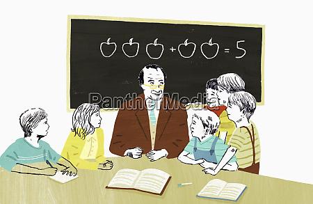 teacher teaching mathematics to group of