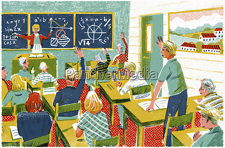 schoolchildren answering questions in mathematics lesson