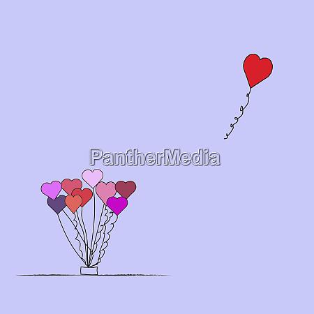 valentin ballon schwimmt vom haufen