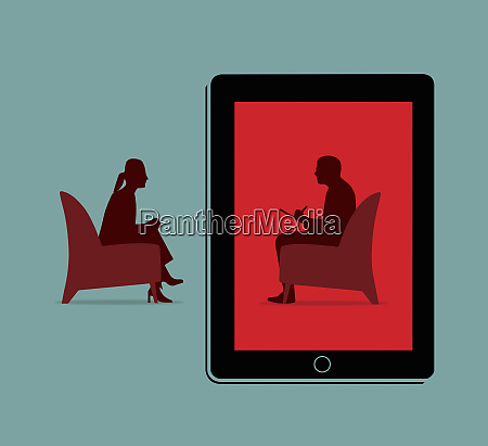 woman receiving therapy over the internet