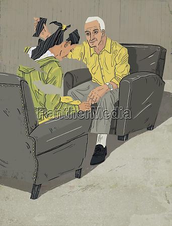 psychotherapist putting depressed woman back together