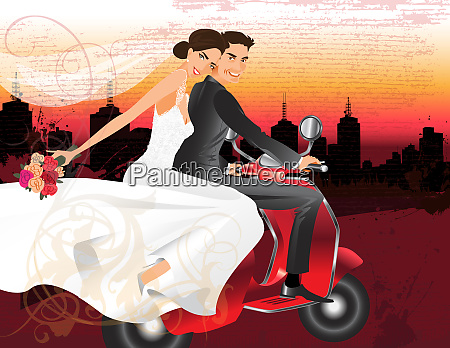 happy bride and groom riding on
