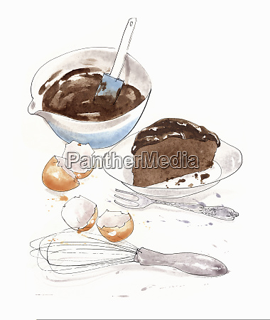 ingredients for making a chocolate cake