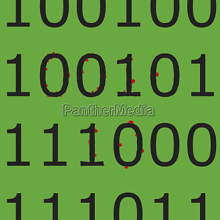 binary code with spots from computer