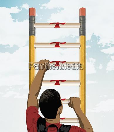 studentische kletterleiter von bleistiften und diplomen