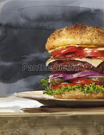 grande hamburger con un sacco di