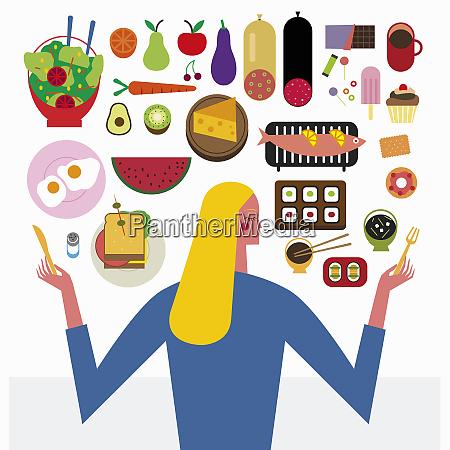woman choosing between healthy and unhealthy
