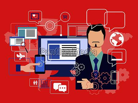 businessman using digital technology for global