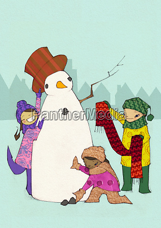 children building snowman