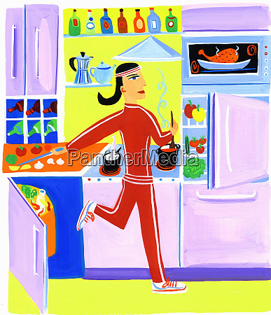 efficient woman exercising and preparing healthy