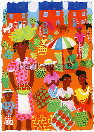 traditional outdoor food market in madagascar