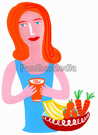 woman drinking healthy juice from fruit