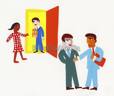 businessmen arriving for job interview