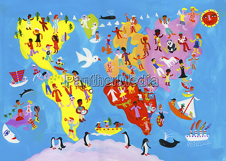 illustrated world map of people enjoying