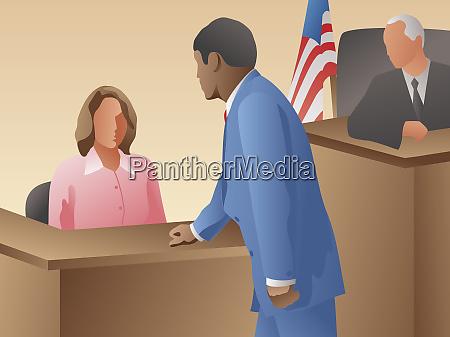 anwalt befragt zeugen im gerichtssaal