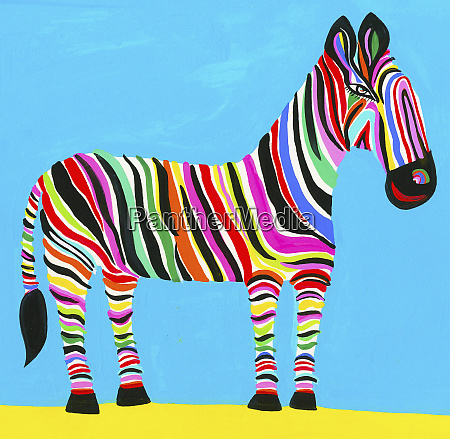 colorful zebra with multicolored stripes