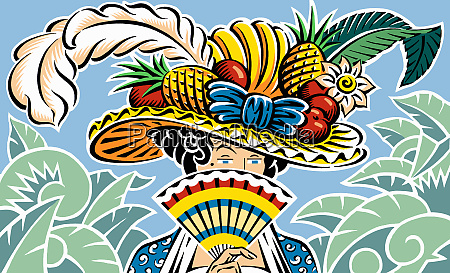 woman with ornate fruit hat obscuring