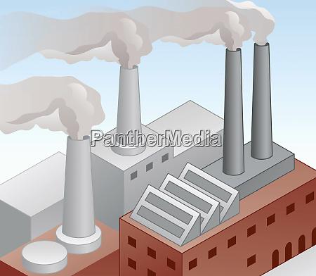 luftverschmutzung durch fabrikschornsteine