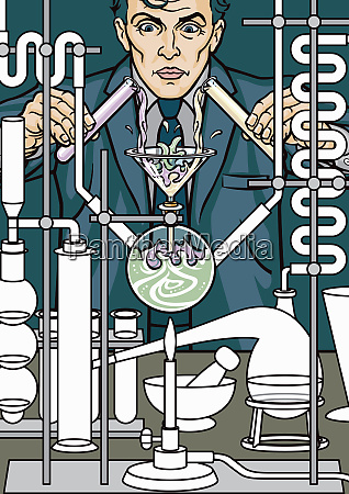 mad scientist businessman doing chemistry experiment