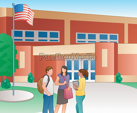 students talking outside of school building