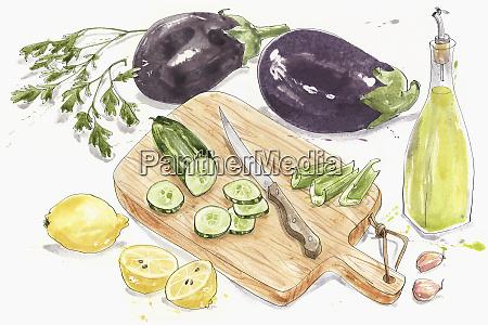 fresh ingredients for baba ghanoush