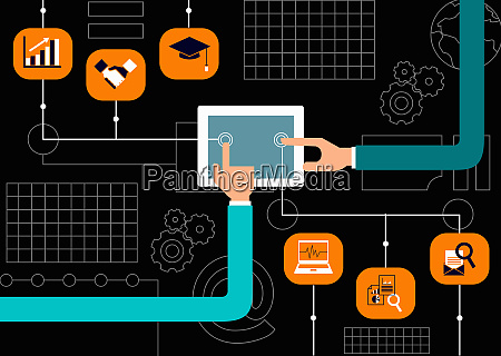 hands using digital tablet for business