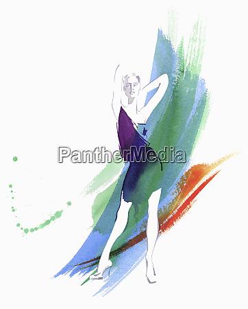fashion model posing against watercolour brush