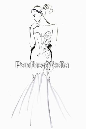 fashion illustration of model wearing evening