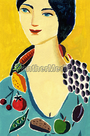 woman wearing healthy food necklace