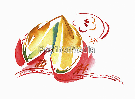watercolour painting of chinese fortune cookie
