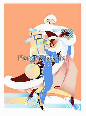 glamorous woman and bellboy ice skating
