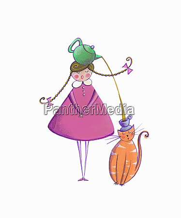 girl pouring tea for pet cat