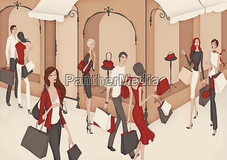 elegant wealthy men and women shopping