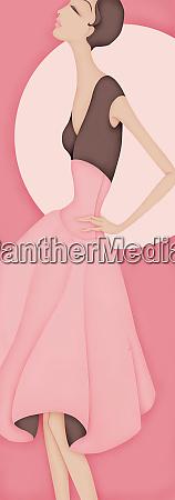 beautiful elegant woman wearing pink dress