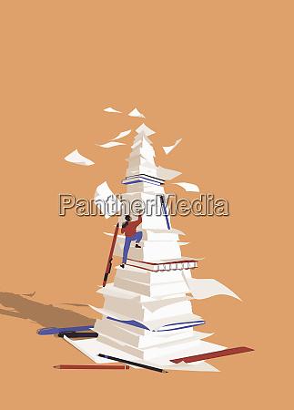 woman climbing huge pile of paperwork