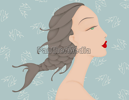 beautiful woman with fish braid in
