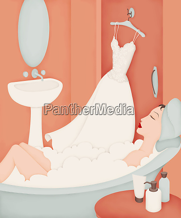 beautiful woman in bathtub with wedding