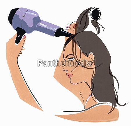 close up of beautiful woman brushing