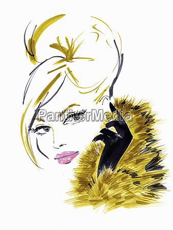 glamorous blonde woman wearing fur